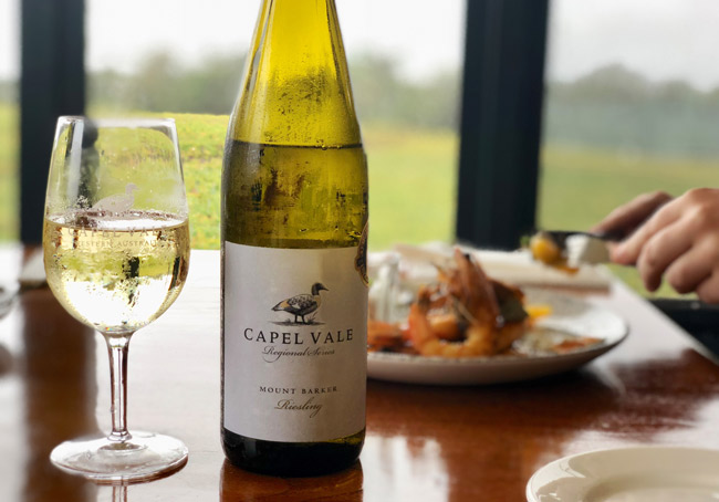 Capel Vale wine bottle and glass